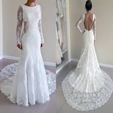 backless lace wedding dresses gorgeous neck sleeve mermaid backless lace wedding