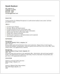 sample resumes for medical receptionist sample undergraduate