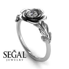 flower engagement rings solitaire engagement ring 14k white gold 0 25 carat cut