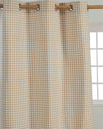 cotton gingham check beige ready made eyelet curtains homescapes
