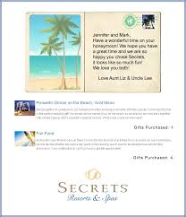wedding honeymoon registry secrets resorts honeymoon registry