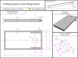 folding leg box frame design spec sheet for boards