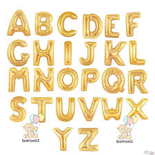 16 inches alphabet foil balloons gold bearloonsg