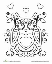 owl heart coloring pages coloring
