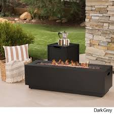 Firepit Rocks Wellington Outdoor Rectangular Firepit With Lava Rocks By