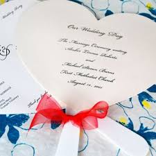 fan shaped wedding programs heart shaped wedding program fans fans wedding programs