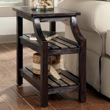 end table with shelves chairside end table with colorful plank shelves by signature design