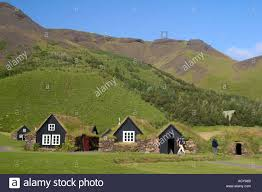 iceland skogar open air museum little typical farmhouses in green