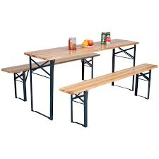 amazon com 3 pcs beer table bench set folding wooden top picnic