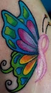 cancer ribbon butterfly tattoos images with faith and