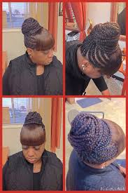 natural hair bun styles with bang cornrows in a bun with bangs fabulous hair pinterest