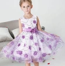 kids formal wear purple handmade floral dress flower girls