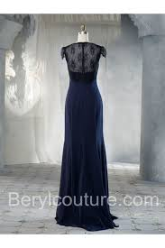 cowl neckline cap sleeve see through lace back long navy blue