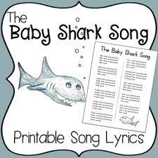 printable lyrics the baby shark song by miss vanessa teachers pay teachers