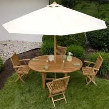 Patio Furniture Set With Umbrella - teak outdoor expandable round table set outdoor
