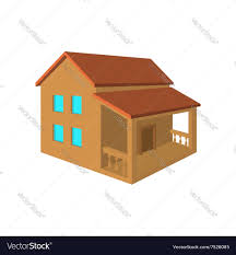 two storey house with porch flat icon royalty free vector