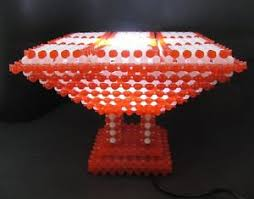 handmade beaded table lamp red and white beads pedestal nightstand