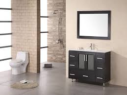 Narrow Bathroom Vanity by Light Brown Wooden Vanity With Shelf And Black Rattan Buckets