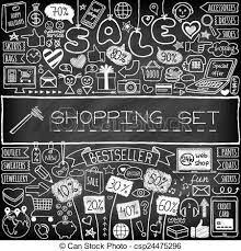 doodle drawings for sale shopping doodle set chalk board effect icons eps