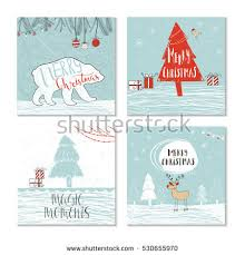 set 4 cute christmas cards quote stock vector 538467628 shutterstock