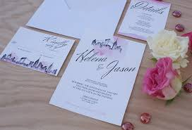 wedding invitations nyc new york city wedding invitation handpainted with watercolors