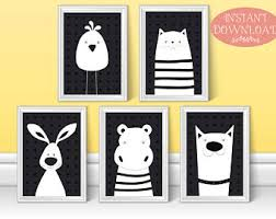Prints For Kids Rooms by Black White Nursery Etsy