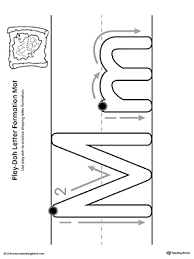 letter formation play doh mat letter m printable