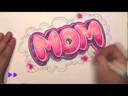 how to draw graffiti letters write mom in bubble letters mat