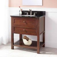bathroom decorating ideas using white brown wooden bamboo bathroom
