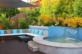 White Patio Cushions by Built In Patio Contemporary With Water Feature White Outdoor