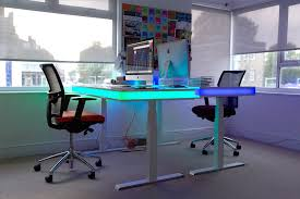 Smart Office Desk Adjustable Smart Table Design With Ambient Led Lighting Tableair