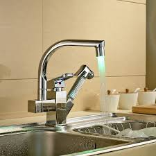 rozinsanitary led spout kitchen sink faucet pull out hand spray