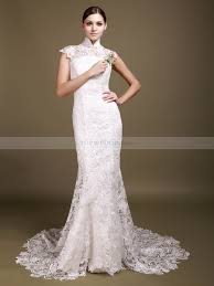 wedding dresses high high neck allover lace mermaid wedding dress with backless detail