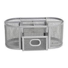 wire mesh desk organizer org oval wire mesh desk organizer in silver bed bath beyond