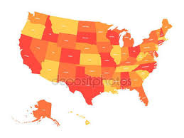 shades of orange names political map of usa united states of america colorful with white