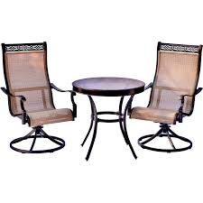 monaco 3 piece bistro set with swivel rockers and a glass top