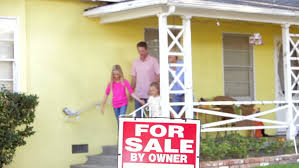 front door video camera couple come out of front door and stand next to for sale sign and