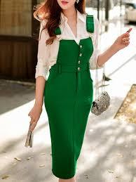 green spandex sweet buttoned plain midi skirt stylewe com