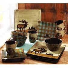 16 roaming elk stoneware dinnerware set w mugs plates