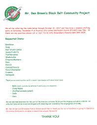 black belt community service project operation christmas child