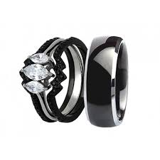 stainless steel wedding ring sets his hers 4pcs black titanium matching band women marquise cut