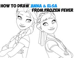 how to draw anna and elsa from disney u0027s frozen fever with easy