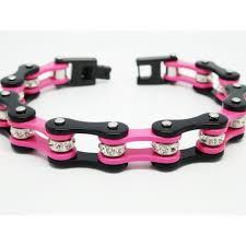 black stainless steel chain bracelet images Lady 39 s pink black stainless steel biker motorcycle chain bracelet jpg