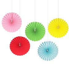 paper fans assorted color paper fans pack of 5