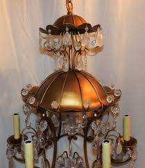 gold gilt pagoda rock crystal vintage chandelier fixture from