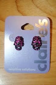 sensitive solutions earrings pink rhinestone skeleton skull sensitive solutions earrings