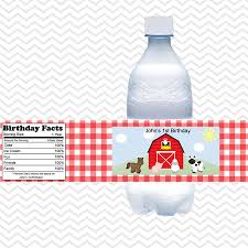 barn yard red gingham farm animals personalized water bottle