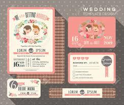 Wedding Invitation Response Card Groom And Bride Cartoon Retro Wedding Invitation Set Design