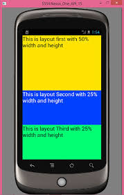 android layout set height and width in percentage format in layout android
