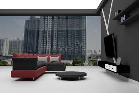 bureau logement rendu 3d intérieur de sofa sectionnel et noir ayant beaucoup
